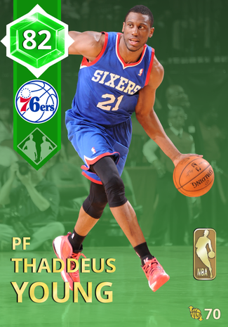 '17 Thaddeus Young emerald card